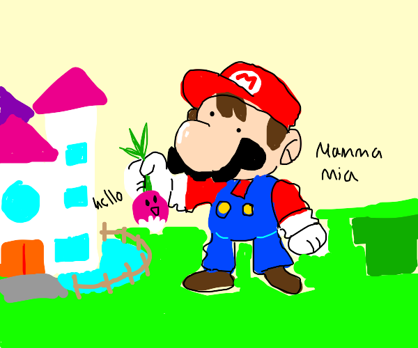Mario holds up a living turnip