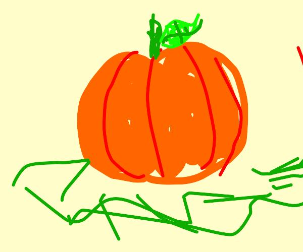 Uncarved pumpkin with stem and leaf