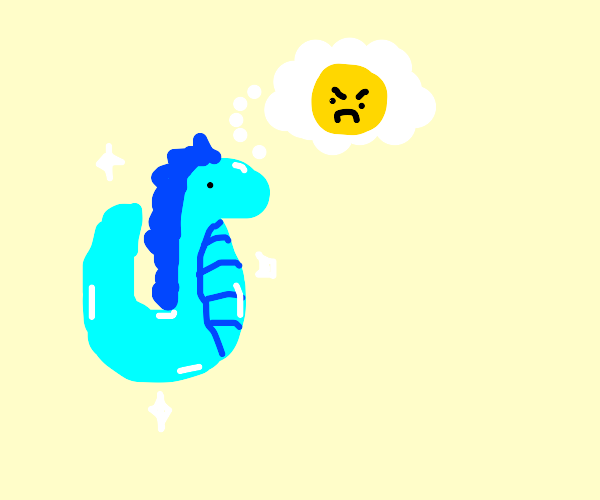 Rare shiny seahorse thinking about rude emoji