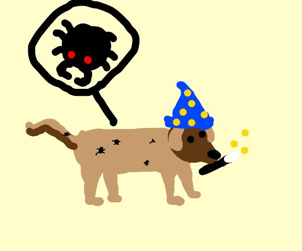 Wizard's dog has fleas