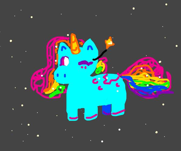 winking unicorn in space