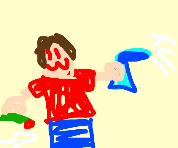 man sprays febreze after taking huge bong rip