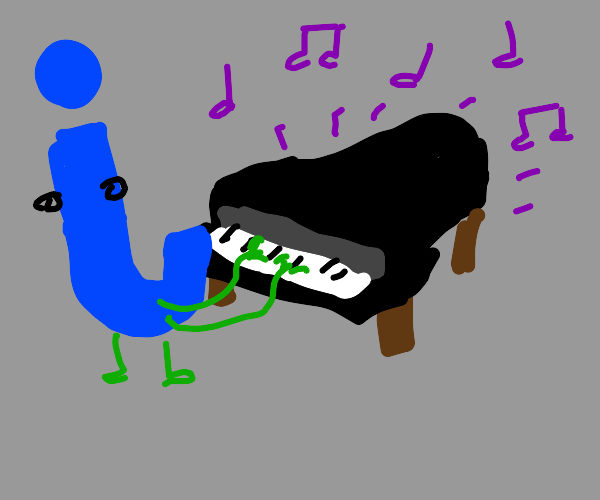 letter J plays piano