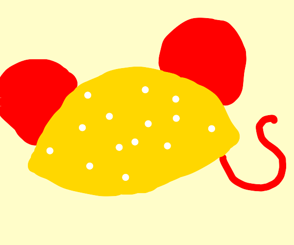 lemon with big red mouse ears