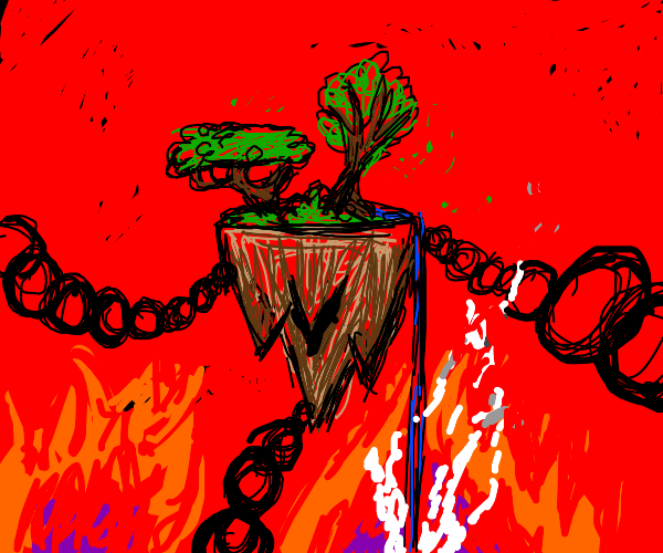 A floating island docked in hell