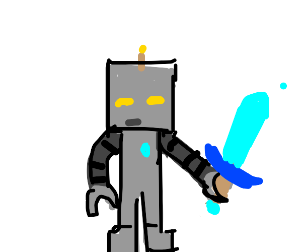 skinny robot with sword