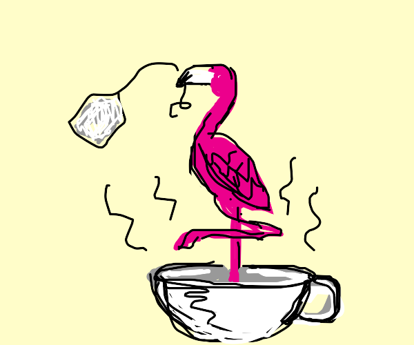 Flamingo in a cup of tea