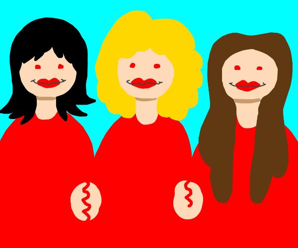three women wearing red lipstick smiling