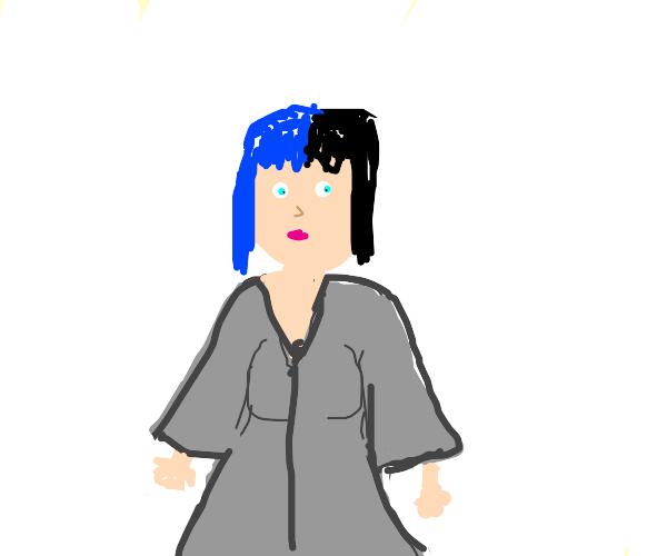 girl in gray robe w half black half blue hair