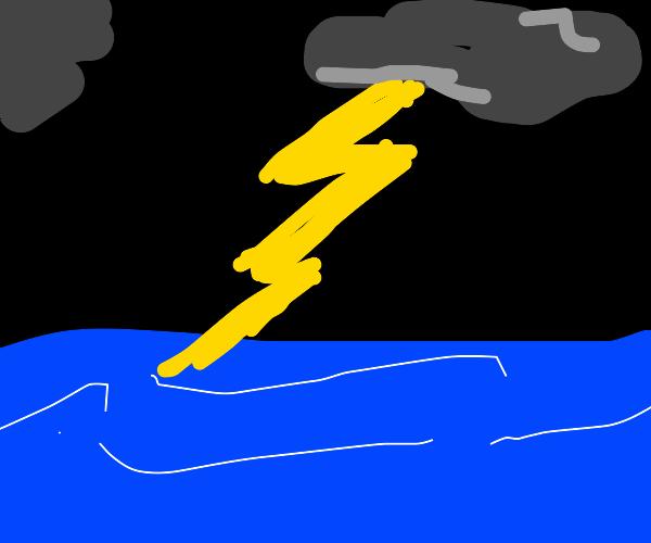 Lightning storm strikes ocean