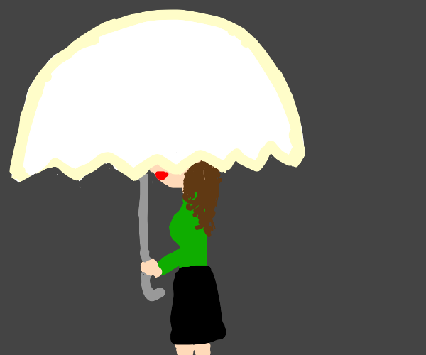 A woman or girl with a umbrella sheilding her