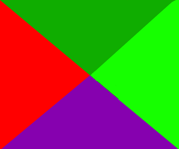 Red, Green, Lime Green and Purple.