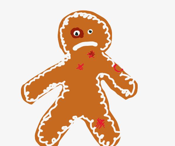 gingerbread man got beat up real bad