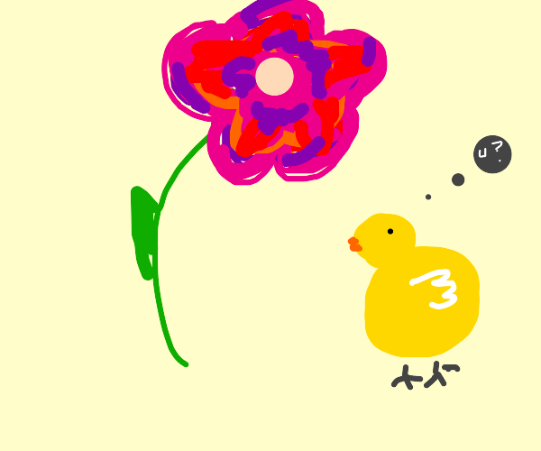 A chick interviews a flower
