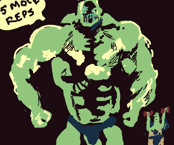 Deformed bodybuilder towers over his trainees