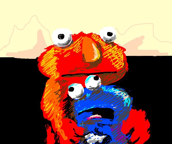 Elmo's brother rips off Cookie Monster's head