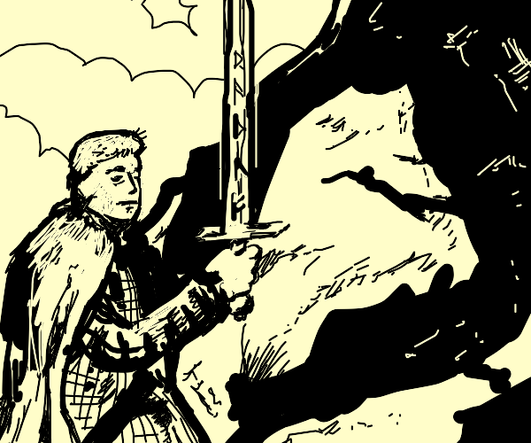 Boy unfazed by his sword inscribed with runes