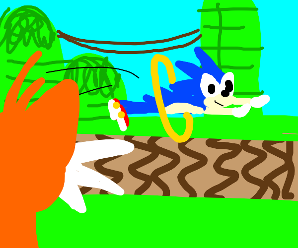 Tails looking at sonic going through a ring