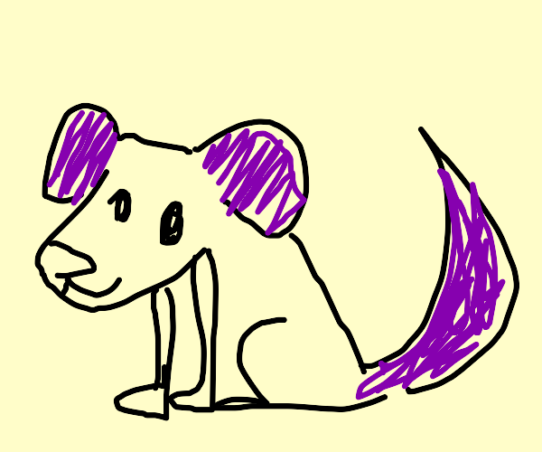 A dog with purple tail and ears
