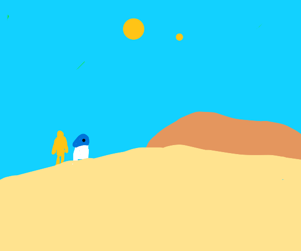C-3PO and R2-D2 in the desert of tatooine