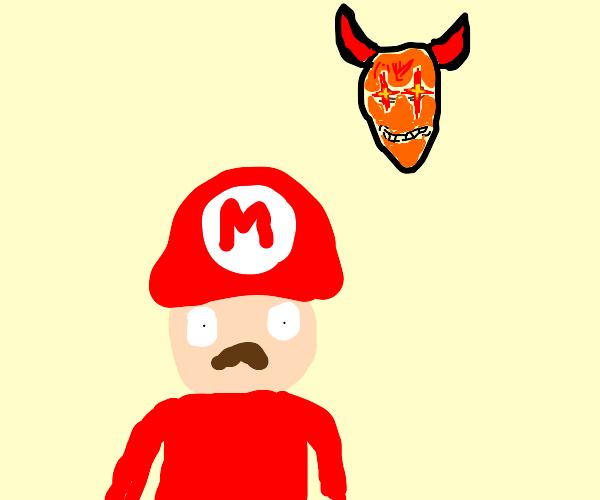 Mario with a demon behind him