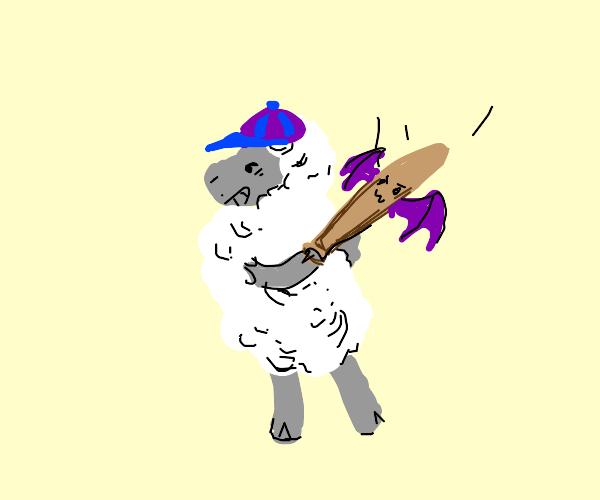 Sheep swinging a baaaaaat