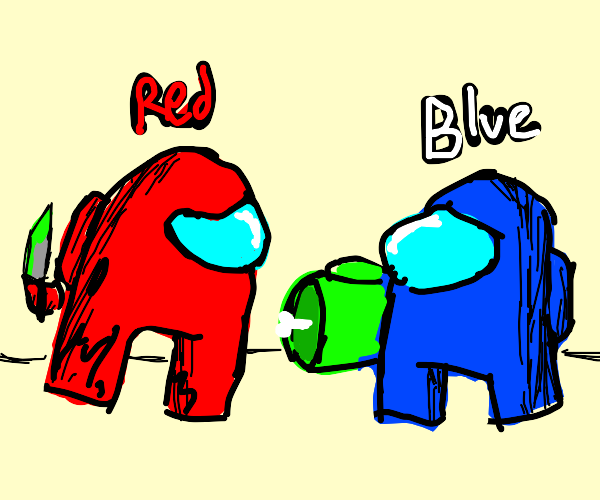 red impostor blames blue for killing lime