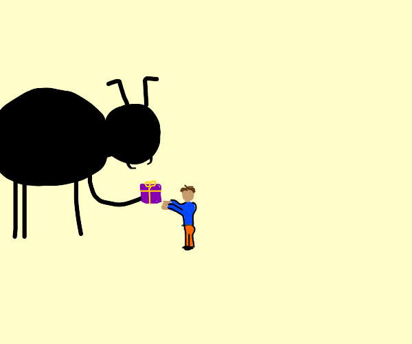Giant ant gives small person a gift