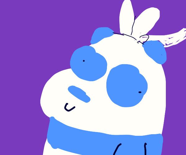 Panda with bunny ears