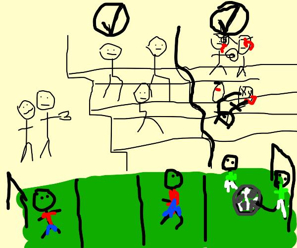 Futbol fans optional fighting (literal)
