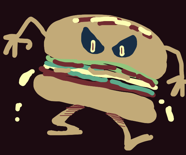 Anthropomorphic demonic hamburger monster