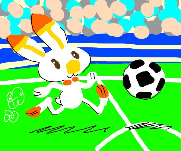 Scorbunny plays soccer
