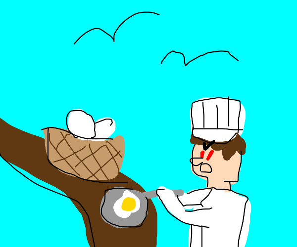 Angry chef eating from a nest