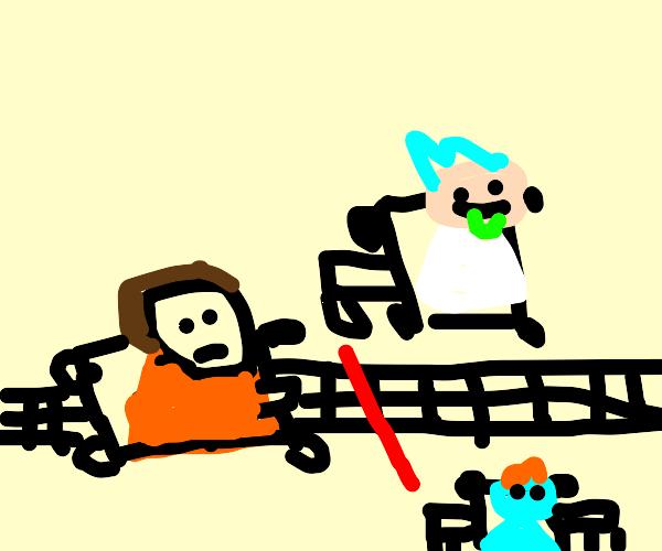 Morty gets 3rd in a laser drug race