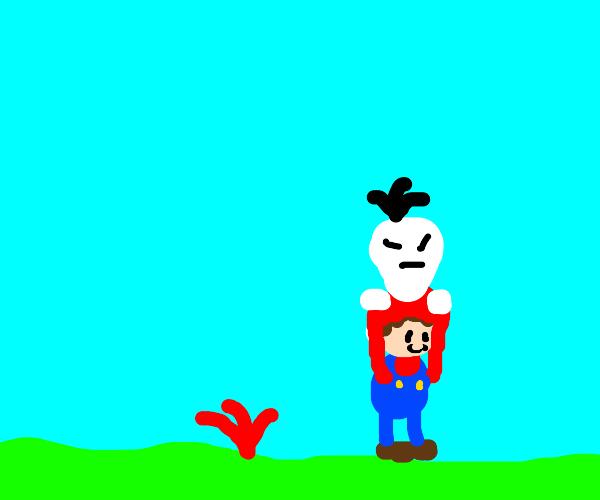 Mario picks up a turnip