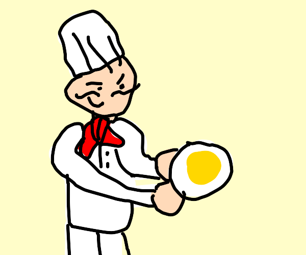 Evil chef steals eggs for breakfast