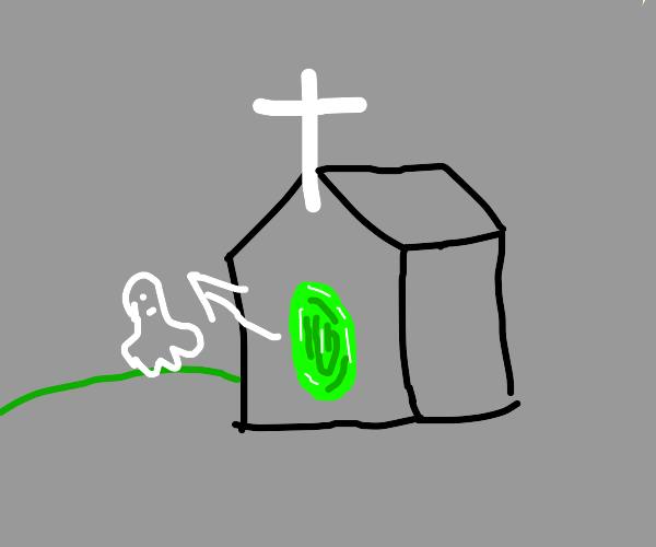 Ghost climbs out of a portal in a church
