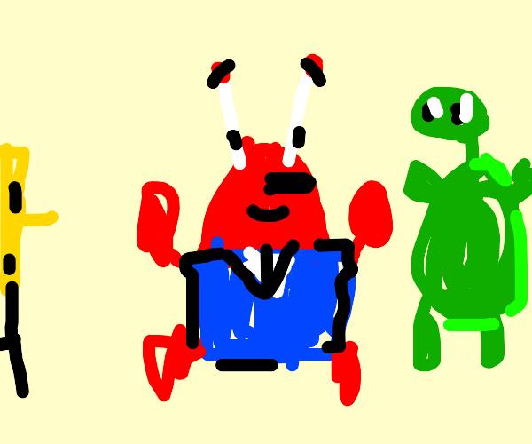 Mr. Krabs and tortoise