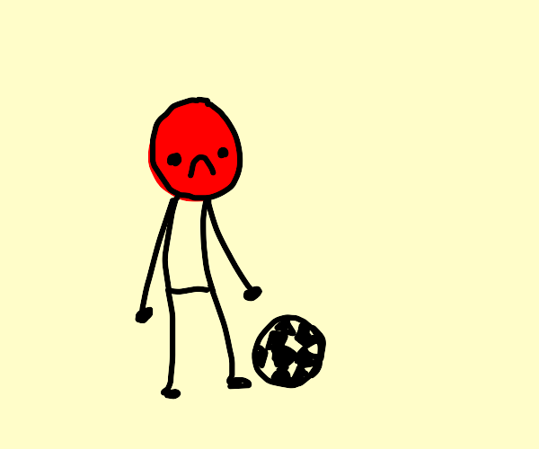 Sad man with football and red face