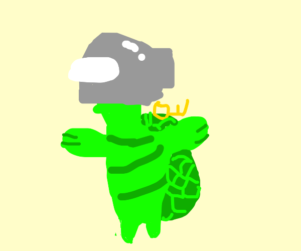 Turtle with space hat and key on shell