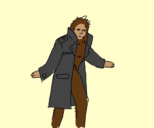 Bigfoot wearing a Coat