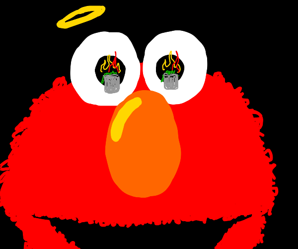 Angel Elmo Happy about Fire