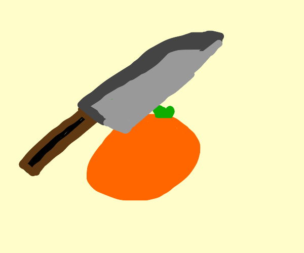 knife cuts orange