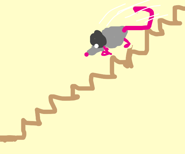 mouse falling down a flight of stairs