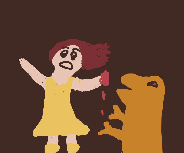 girl with bloody hand attack by a dino/pokemo