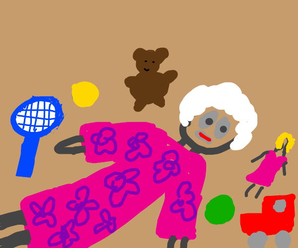 grandma lays on floor with toys with wide eye
