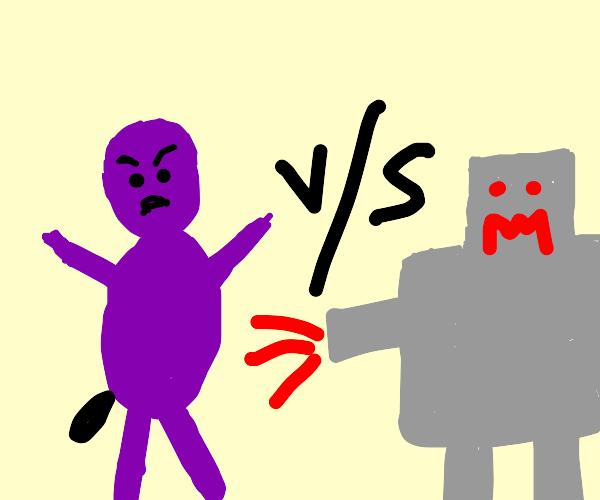 purple poops out black vs robot shape monster