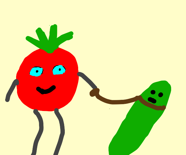 Tomato walks cucumber like a dog