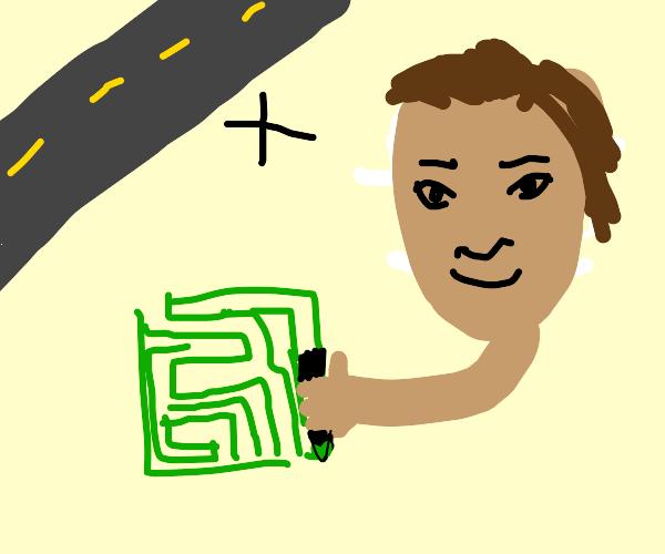 Highway Jim draws a maze