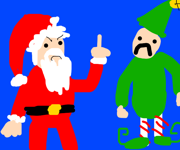 Santa claus flipping the bird to an elf